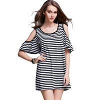 Plus Size XXXL 4XL Black White Striped Casual Sport Tshirt Dress 2016 Summer Women Off Shoulder