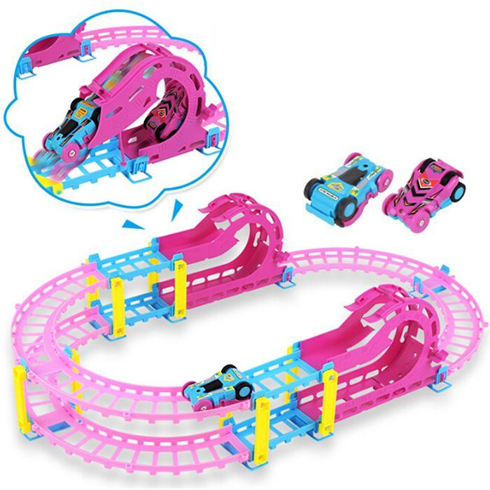 Chemin de fer magique course piste jeu ensemble bricolage plier Flexible piste de course électronique Flash lumière voiture jouets pour enfants