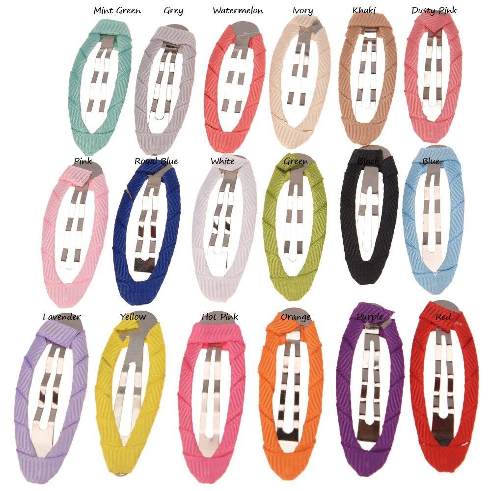 18PCS  Ribbon Covered Cute Hair Clip Snap Clips Hair Accessories Clips BB Hairclips Bows Diy Accessory Clip Hairgrips Hair Bow