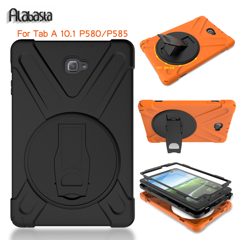 Alabasta Case For Samsung Galaxy Tab A A6 10.1 P580 P585 (Not T580) Cover Armor Tablet Shockproof Heavy Duty PC+silicone Shell metal ring holder combo phone bag luxury shockproof case for samsung galaxy note 8