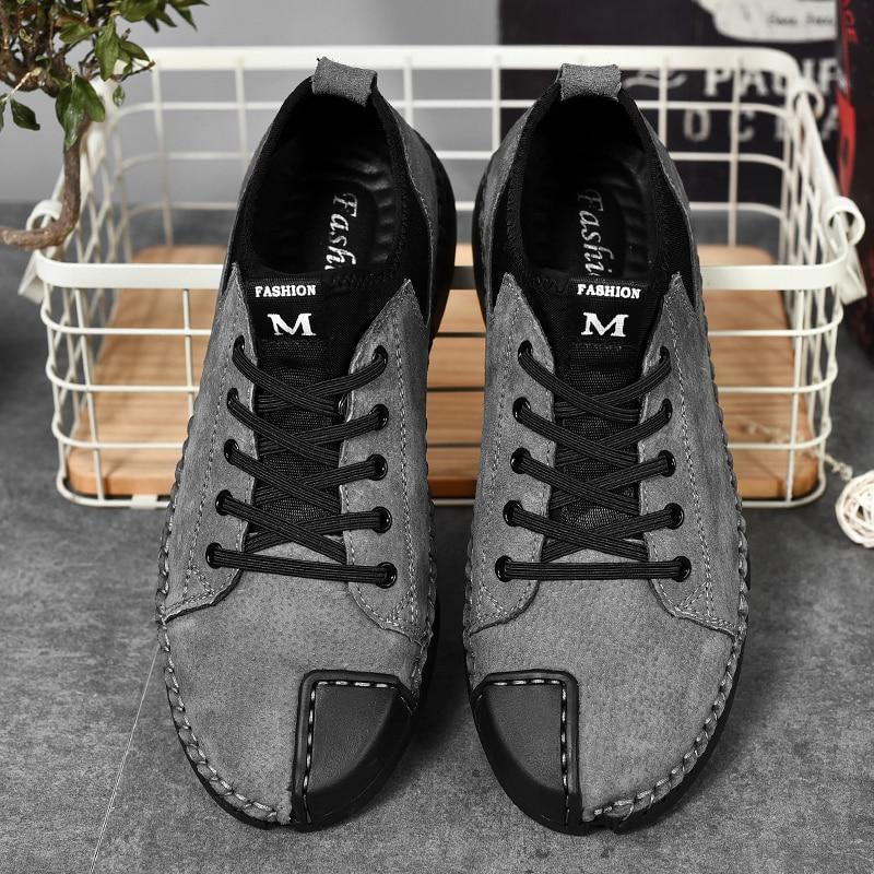 khaki Moda Leve Lace Flats gray Temporada Couro Black Calçados Homens Vestem Genuíno A Toda Dos Up Casuais Confortável Se W5 Sapatos Masculino FCPx1wT