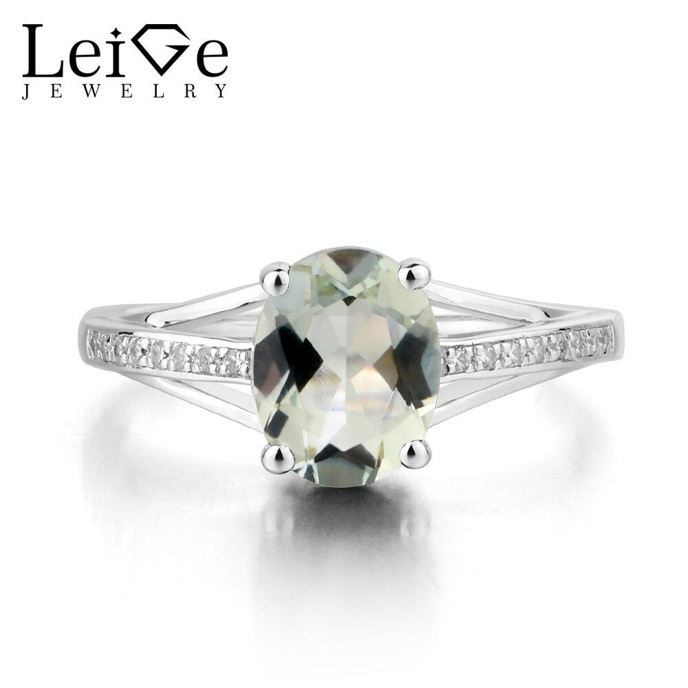 купить Leige Jewelry Real Natural Green Amethyst Ring Oval Cut Gemstone Wedding Engagement Ring 925 Solid Sterling Silver Ring Jewelry по цене 6051.78 рублей