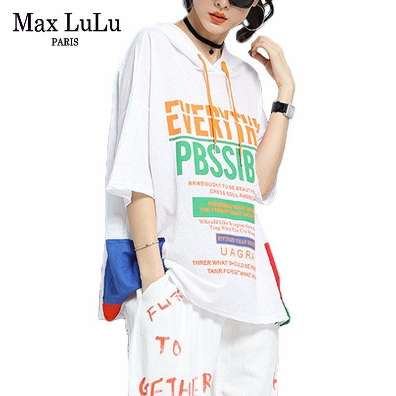 Max LuLu Fashion Korean Tracksuit Ladies Summer Tops And Pants Womens Casual Two Pieces Sets Printed