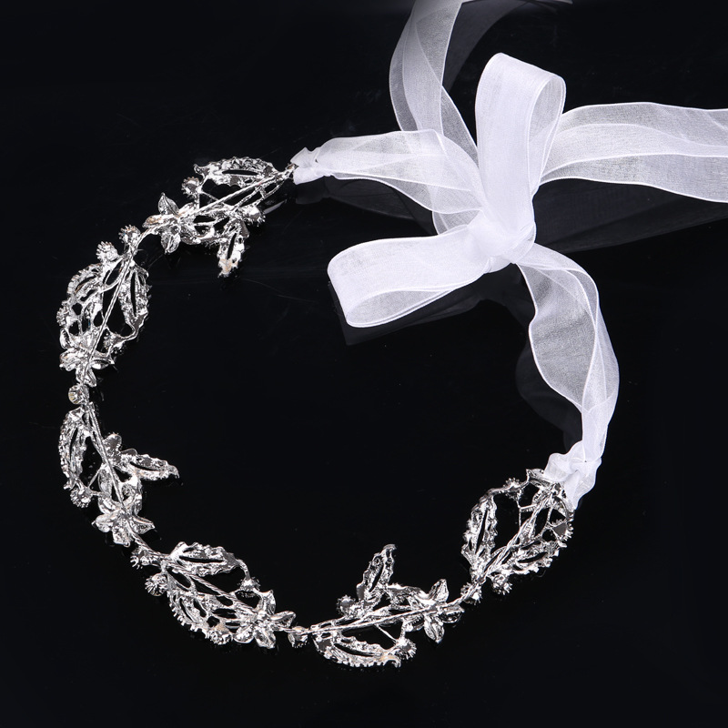 Sapphire Bridal Wedding Accessories Crystals Headband Beach Wedding Veil Country Style Beaded Bridal Veil