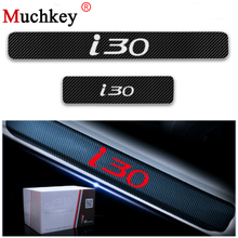 Door Entry Guard For Hyundai i30 Threshold Plate Car Sills Scuff 4D Carbon Fiber Vinyl Sticker Auto Part 4Pcs