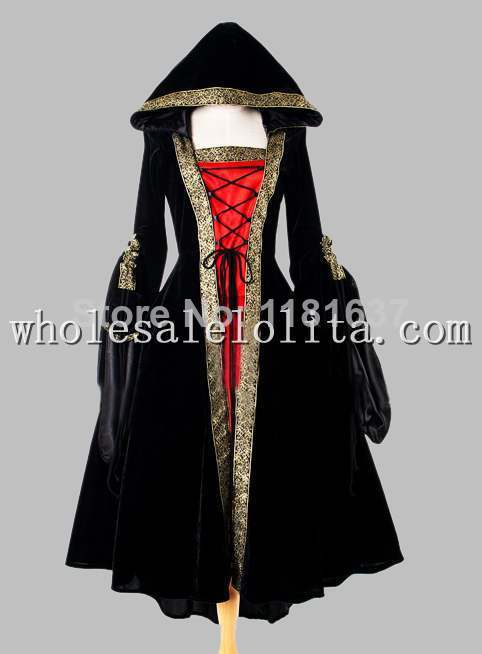 Black and Red Euro Court Dress & Witch Halloween Costume Hooded Cosplay Dress