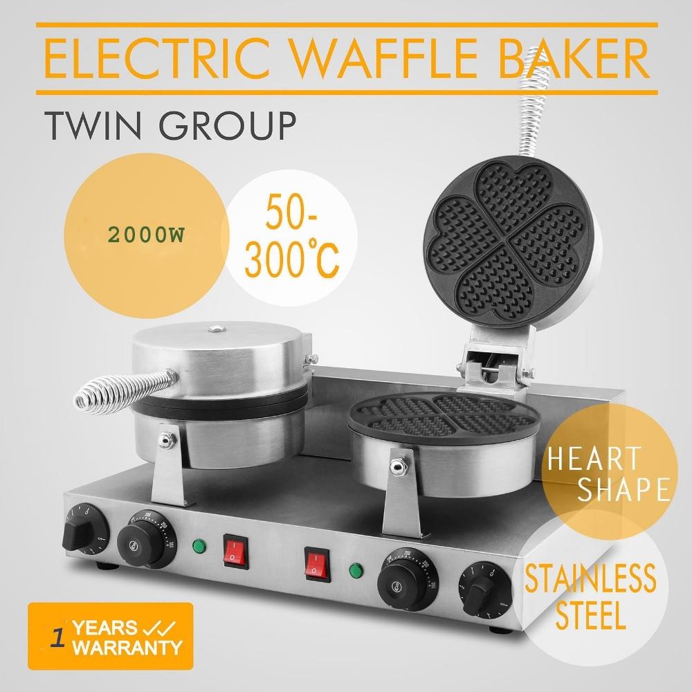 Ticari çift kalp şekli waffle makinesi/waffle baker/Elektrikli Çift Kalp/Çiçek Şekli Yapışmaz Waffle maker Baker