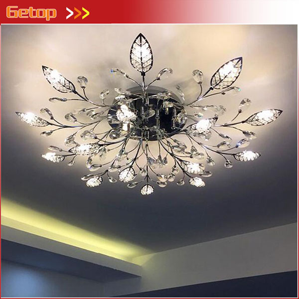 Hot Sale Getop European-style Crystal Chandelier Leaf Ceiling Lamp For Bedroom Living Room Led G4 Lighting Gold/silver d90/120cm H22cm Grade Products According To Quality