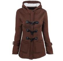Women Causal Coat 2018 New Autumn Winter Overcoat Female Hooded Coat  Zipper Horn Button Outwear  Fashion  Jacket Coat plus size hooded horn button coat