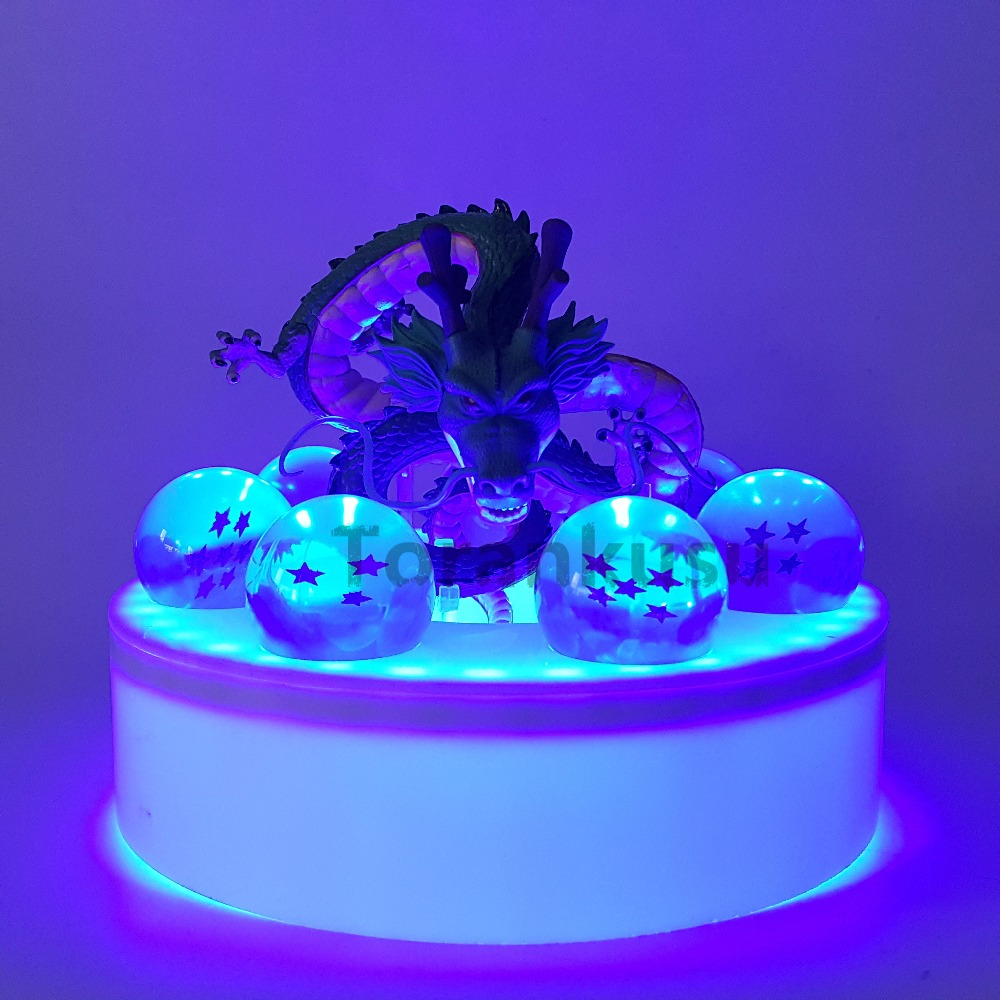 Dragon Ball Z Shenron Blue Led Crystal Ball PVC Action Figure Set Anime Dragon Ball Z Son Goku Figurine DBZ Led Model Toy cmt cmt datong super mario shf action figure toy sh figuarts mario model with accessories set action figure
