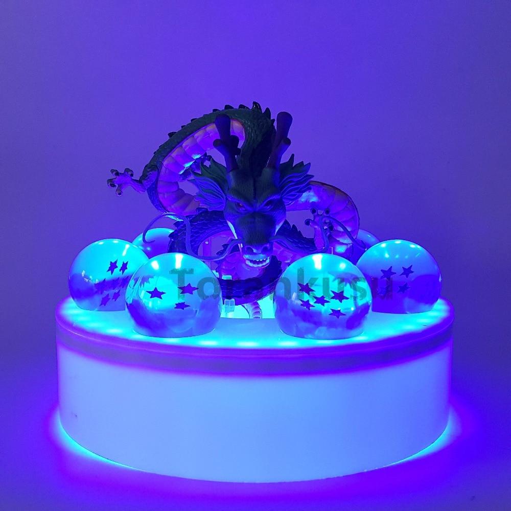 Dragon Ball Z Shenron Blue Led Crystal Ball PVC Action Figure Set Anime Dragon Ball Z Son Goku Figurine DBZ Led Model Toy dragon ball z son goku super saiyan spirit bomb action figure anime dragon ball z model toy dbz led blue bulb figurine