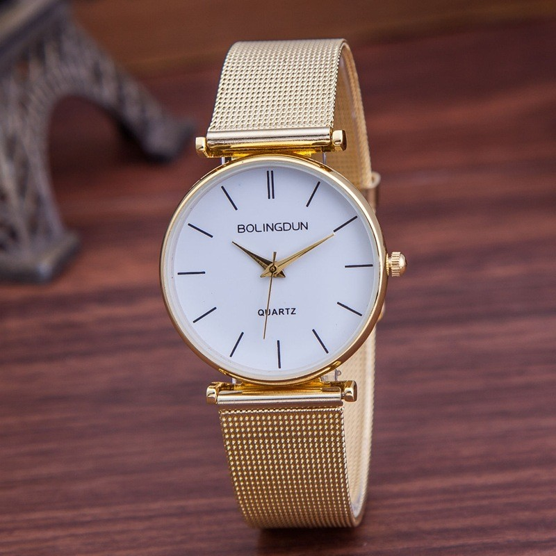 Zegarek Damski Women Quartz Watch Casual Fashion Metal Mesh Stainless Steel Wristwatches Women Luxury Brand Watches Hot Gold new fashion stainless steel silver gold mesh watch unique simple watches casual women men quartz wristwatches clock hot sale