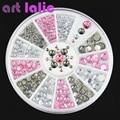 3D Nail Art Rhinestones Crystal Gems White Pink Grey Glitters DIY Deco Nail Tips Design Tool #61