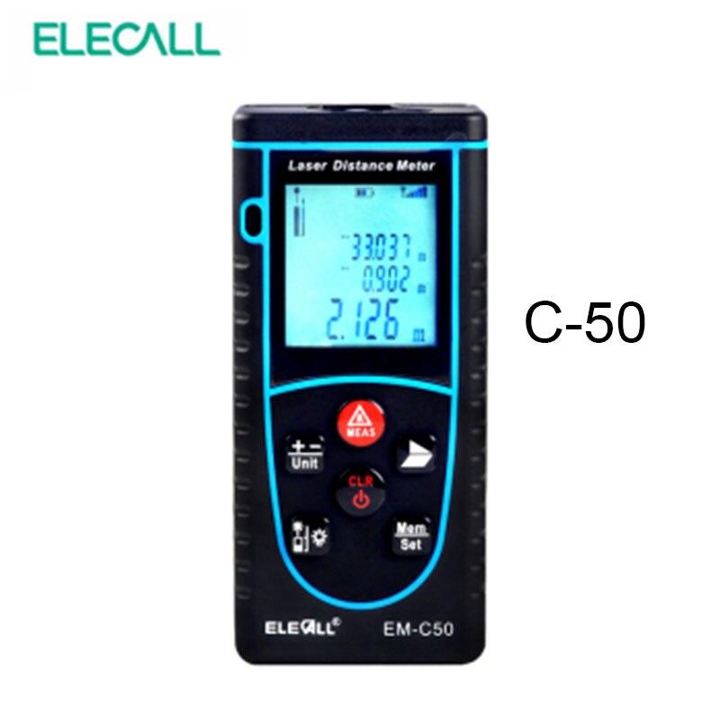 ФОТО ELECALL EM-C50 50m/164ft Digital Laser Distance Meter Bubble Level Rangefinder Area/Volume Tape Measure Laser Measuring Tool