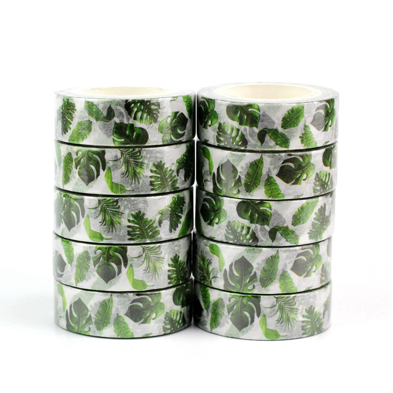 10PCS/lot Tropical Palm Leaves Washi Tapes Japanese Paper DIY Planner Masking Tape Adhesive Tapes Stickers Decorative Stationery
