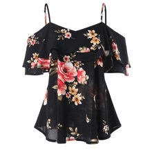 Chiffon Top Dames Blouses V-hals Korte Vlinders Mouwen Off Shoulder Shirt Vrouwen Bloemen Printing Ruches tuniki damskie #15(China)