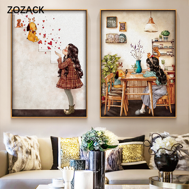 Zozack Needlework,DIY Printed Cartoon Love Girl Cross Stitch Sets For Full Embroidery Cross-Stitch Kit Home Decoration