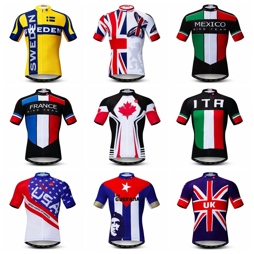 UK Cycling Jersey Men Bike Jerses 2019 Road MTB Bicycle Clothes Sportswear Maillot Racing Top France Canada USA Norway Australia