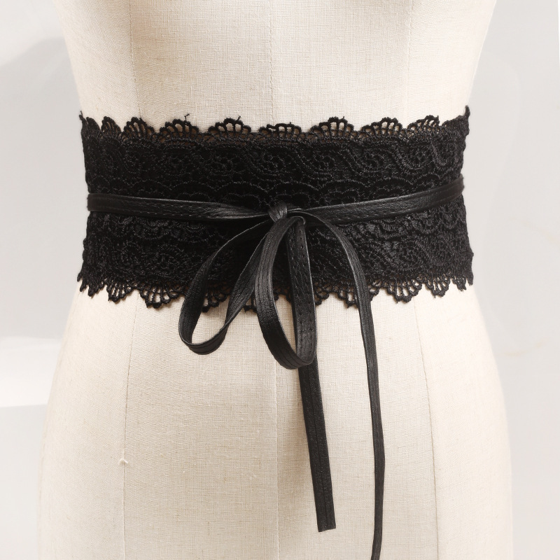 Europe And The United States Retro Hollow Lace Straps Bow Wide Belt Ladies Decorative Dress Girdle Cummerbunds