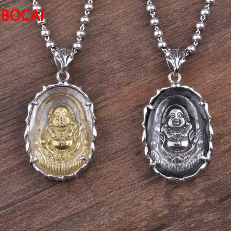 S925 pure silver white crystal maitreya Buddha Thai silver pendant pendant wholesale thai silver wholesale s925 silver inlaid white crystal pendant antique statue of guanyin pendant hollow