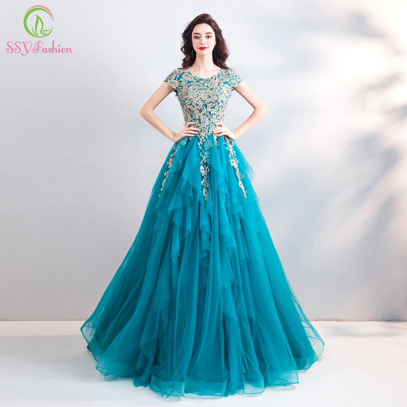 SSYFashion New Vintage Peacock Blue Evening Dress Lace Embroidery A line Floor length Luxury Formal Prom
