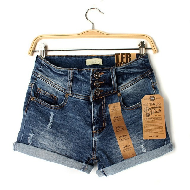 New 2016 Summer Women Denim Shorts Jeans Sexy High Waist Lady Blue Jeans Fit Stretch Brand Hole Casual Ripped Women Shorts Z2126