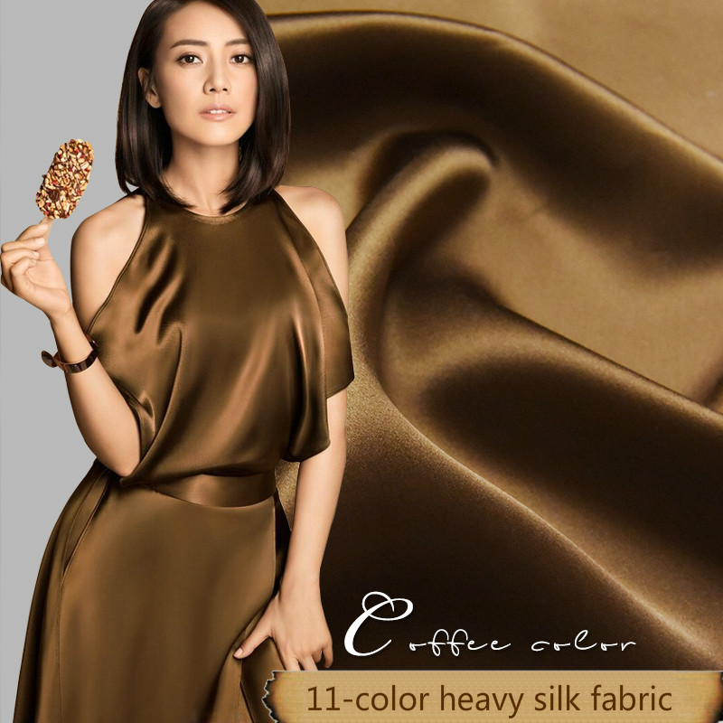 Brown series 100 mulberry silk 16 5 mm Print silk crepe satin fabric Clothing fabric high