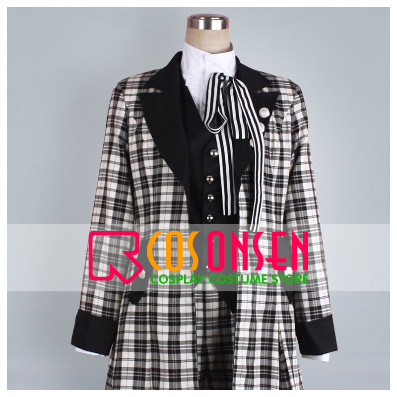 COSPLAYONSEN Kuroshitsuji Black Butler Book of Murder Ciel Phantomhive Cosplay Costume Black White Lattice Design Any Size