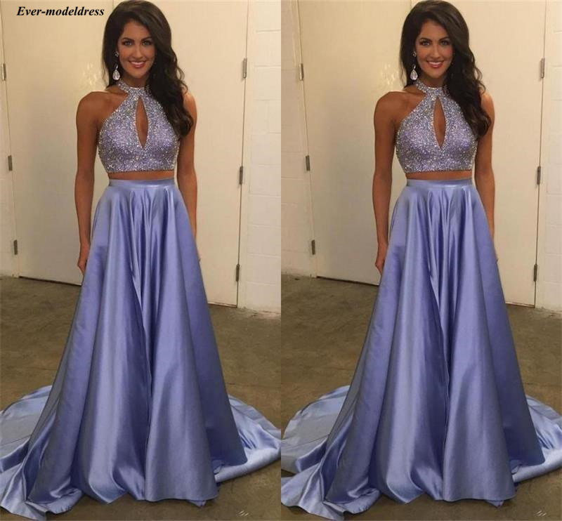 Chic Two Pieces Lavender   Prom     Dresses   Halter Beading Luxury Arabic Special Occasion Party Gowns Long 2019 Abiye Abendkleider