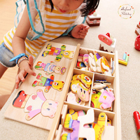 Early Childhood Wooden Jigsaw Toys Baby Bear Change Clothes Puzzle Building Block 1 4Y 72PCS Model