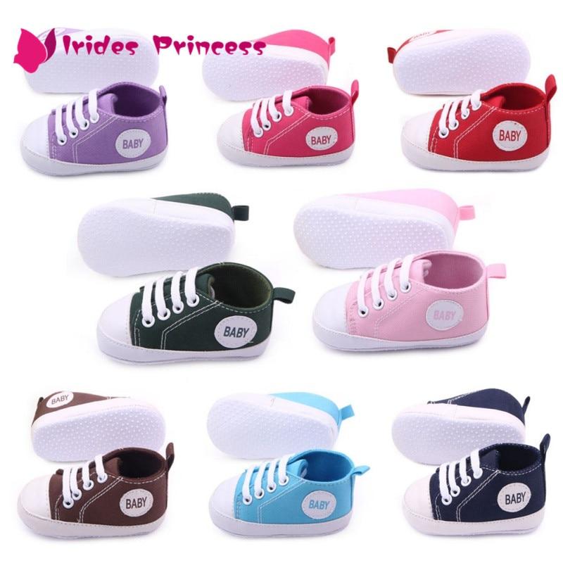 Новый Холст спортивная детская обувь новорожденных Обувь для мальчиков Обувь для девочек Обувь для малышей Infantil малыша мягкой подошвой Prewalker Спортивная обувь для 0-12 м