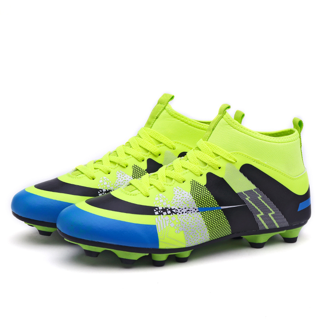Leoci Hot Sale Mens Big Size Soccer Cleats High Ankle Football Shoes Long Spikes Outdoor Soccer Traing Boots for Men High Ankle