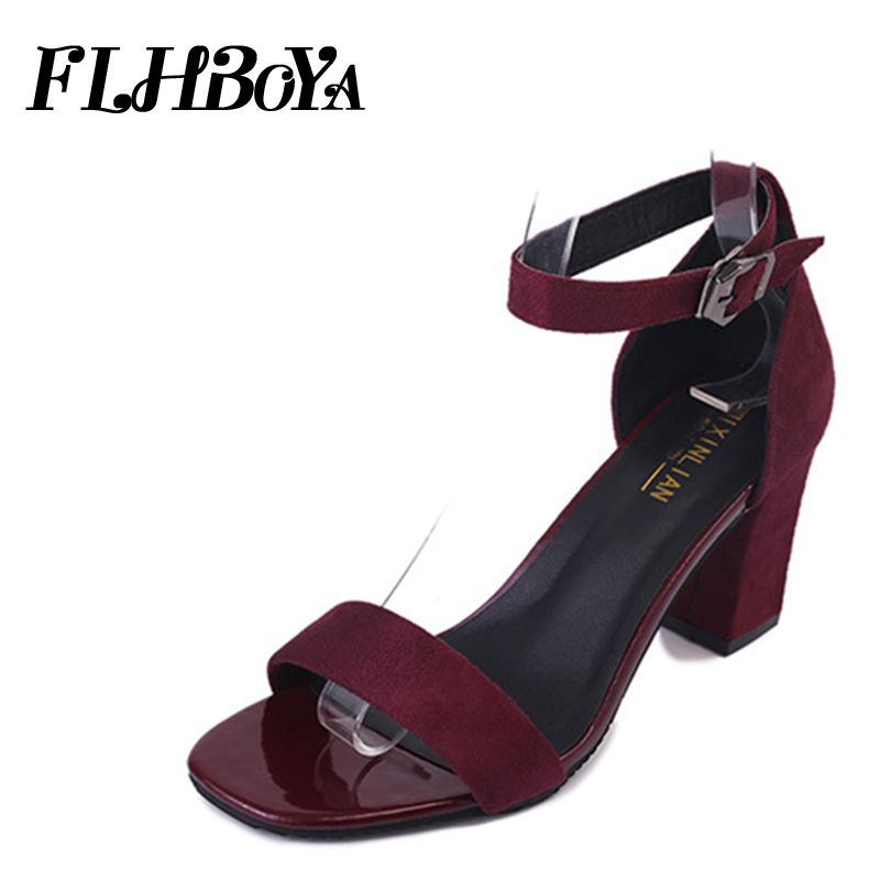 2018 summer women Buckle ankle strap med square chunky heel Sandals shoes For lady black Block heels open toe party woman sandal 2018 new women sandals summer classic ankle buckle strap chunky sequins heels casual open toe black pink khaki zapatos mujer