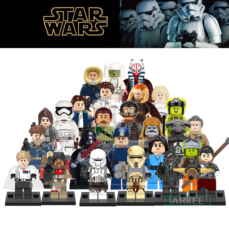 1pc Building Blocks Star Wars Figures Luke Skywalker Kanan Han Solo Death Trooper Darth Vader Action Bricks Kids DIY Gift Toys building blocks agent uma thurman peeta dc marvel super hero star wars action bricks dolls kids diy toys hobbies kl069 figures