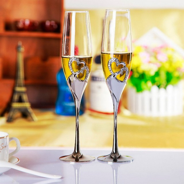 41a72cfd1ec4 2 PCS  Set Wedding Champagne Crystal Silver Plated Toasting Flutes Long Wine  Glasses Cup Diamond Ring for Party Decoration Gift