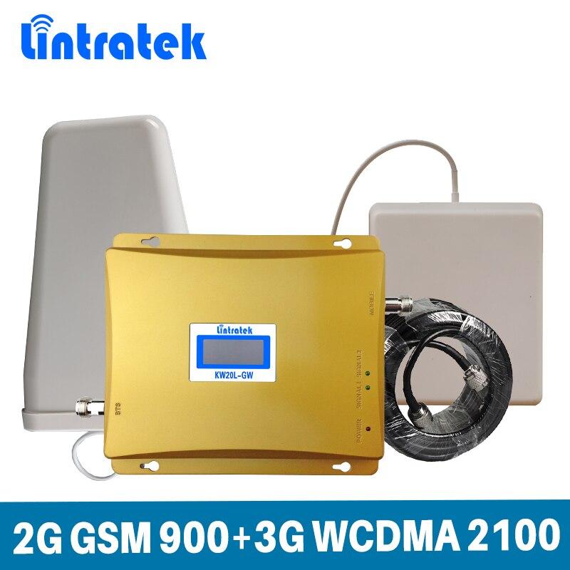 Lintratek GSM 900 3G Dual Band Sinal Celular Impulsionador 2G GSM 900/3G WCDMA UMTS 2100 MHz Celular Repetidor De Sinal Amplificador Conjunto