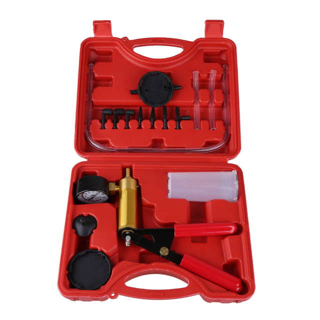 15 Pcs/sets Professional Hand Held Vacuum Pump Kit Car Auto Pressure Tester Brake Bleeder Tester Set Durable With Box