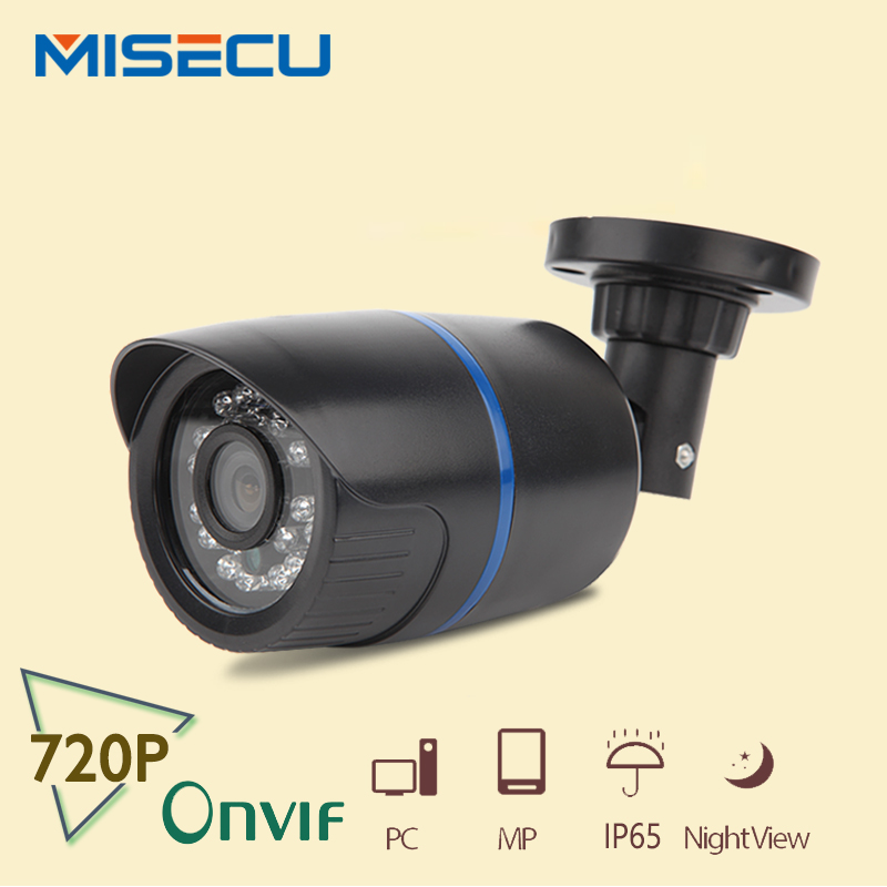 MISECU New HD 1.0MP Onvif P2P HD 720P bullet IP Night Vision Camera 1280*720P CMOS 24pc IR Cut ABS Camera home security XMEye