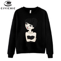 CIVICHIC Fashion Lady Embroidery T Shirt Women Velvet Loose Autumn Winter Cotton Pullover Spring Terry Tops Wear Girl Tee WLT02