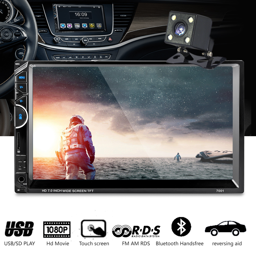 2 Din Car Radio Audio 7'' 2Din Car Video Mp4 MP5 DVD Player Stereo FM RDS Bluetooth Remote Control with Camera автомобильный dvd плеер joyous kd 7 800 480 2 din 4 4 gps navi toyota rav4 4 4 dvd dual core rds wifi 3g