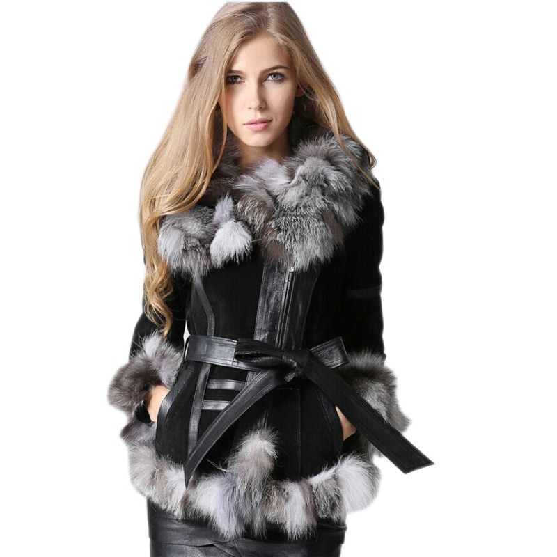 Winter Lady pig Leather Coat Jackets with big Fox Fur collar Outerwear Coats Warm Overcoats Female Fur jacket 2019 new