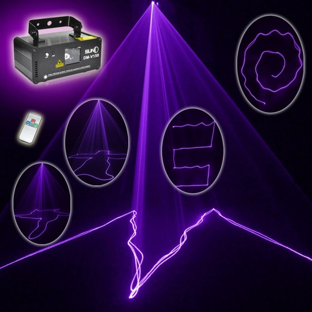 Free shipping MINI PRO IR Remote 8 CH DMX 150mW Purple Color Laser Scanner Lights DJ Party Bar Projector Stage Lighting V150