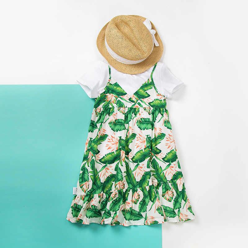 MiniBalabala ילדה Sleevelss V-צוואר התלקח טרופי שמלת ילדי ילד ילדה חוף שמלות קיצי תלבושות קיץ