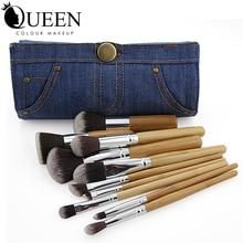 QUEEN Pro Brand 10 pcs Bamboo Makeup Brushes Foundation Powder Contour Eyeshadow Lip Brush Cosmetic Makeup Brush with Denim Bag