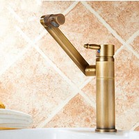 Brass Antique Bathroom Vanity Sink Faucet Deck Mount Short Mixer Taps With Hot And Cold Water
