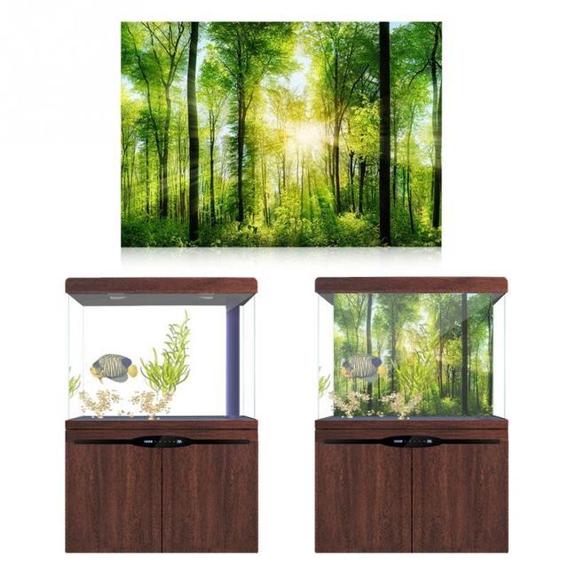 3d Forest Poster Effect Adhesive Aquarium Accessories For Aquarium