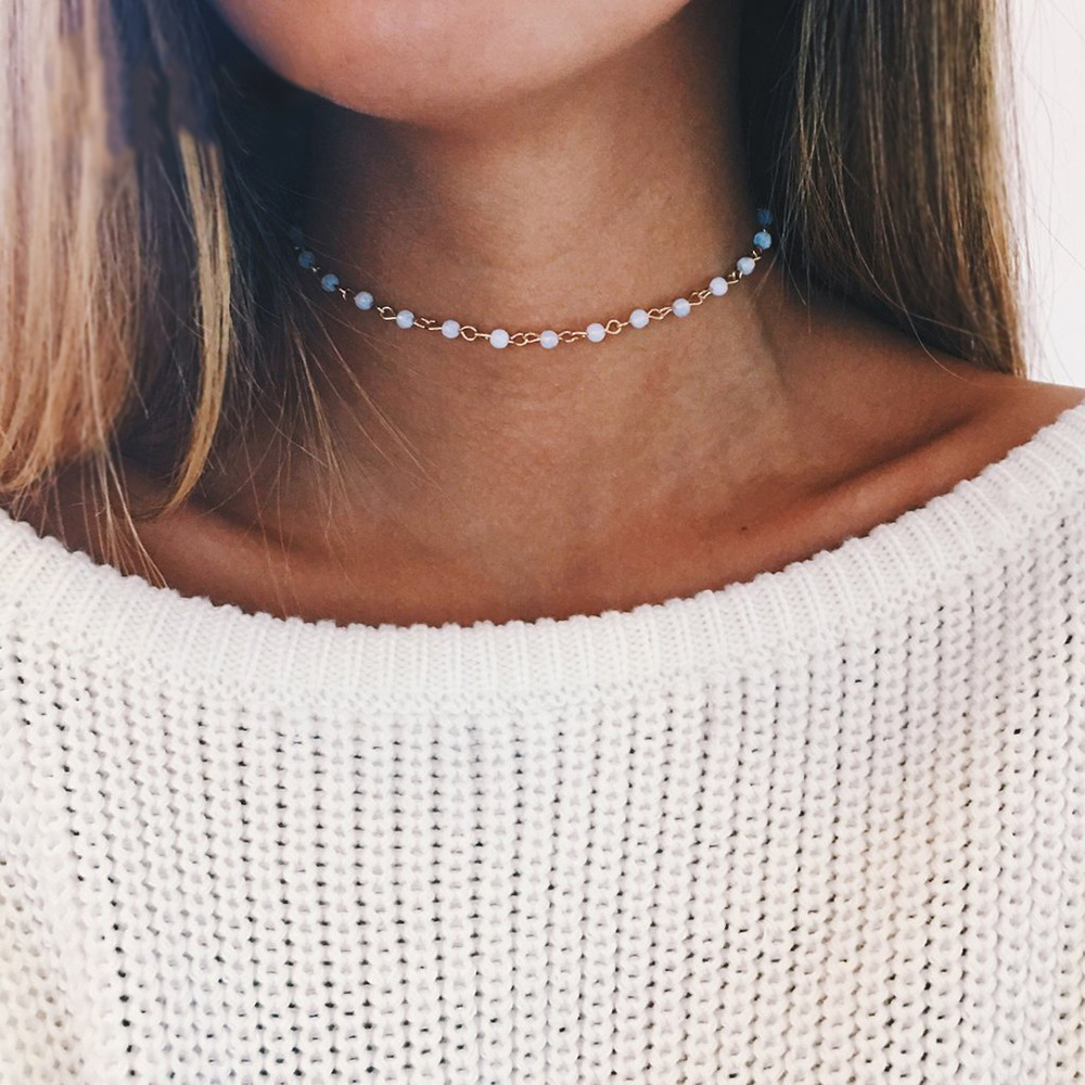 Women's Jewelry; Necklaces; Choker Necklaces. Generally designed to fit snugly around the neck, the choker necklace length can vary from collar style, the tightest of the short strand variety, to the layered, multi-strand collarette, featuring a waterfall of pendants.