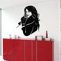 Decalcomanie della parete Del Vinile Della Decalcomania di Arte Murales Decor Donna in Cappotto Con Una Rosa