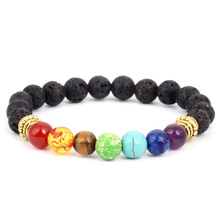 Lava Natural Stone Bead Bracelet For Women or Men 7 Colors Beaded Fashion Gold/Silver Alloy Bead Bangle Personality Jewelry