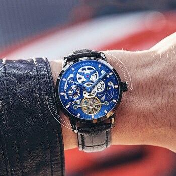 AILANG الأصلي أفضل الرجال الفاخرة التلقائي ساعة ميكانيكية جوفاء والعتاد الرياضة 50 متر مقاوم للماء ساعة جلدية الأعمال السويسرية